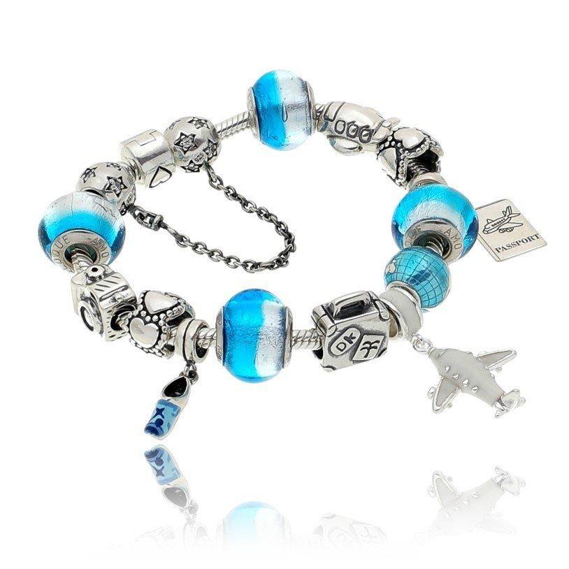 Berloque Murano Prata e Azul