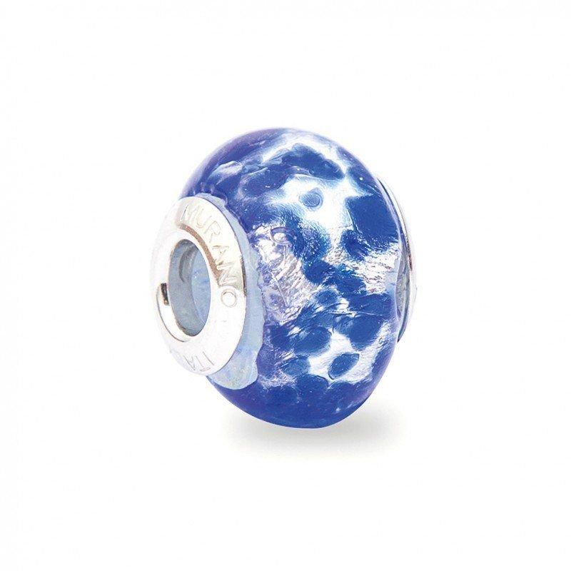 Berloque Murano Prata e Azul Intenso