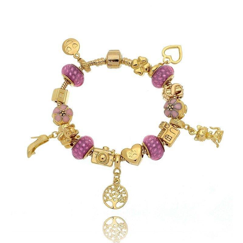 Berloque Murano Rosa com Dourado