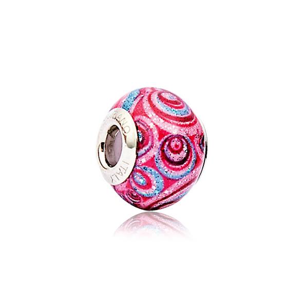 Berloque Murano Rosa Multicor