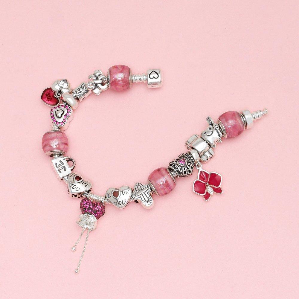 Berloque Murano Rosa Pink Cintilante