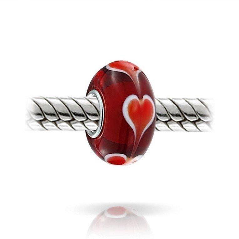 Berloque Murano Vermelho Coração