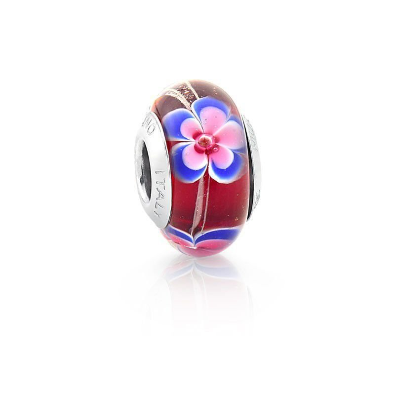 Berloque Murano Vermelho Flor