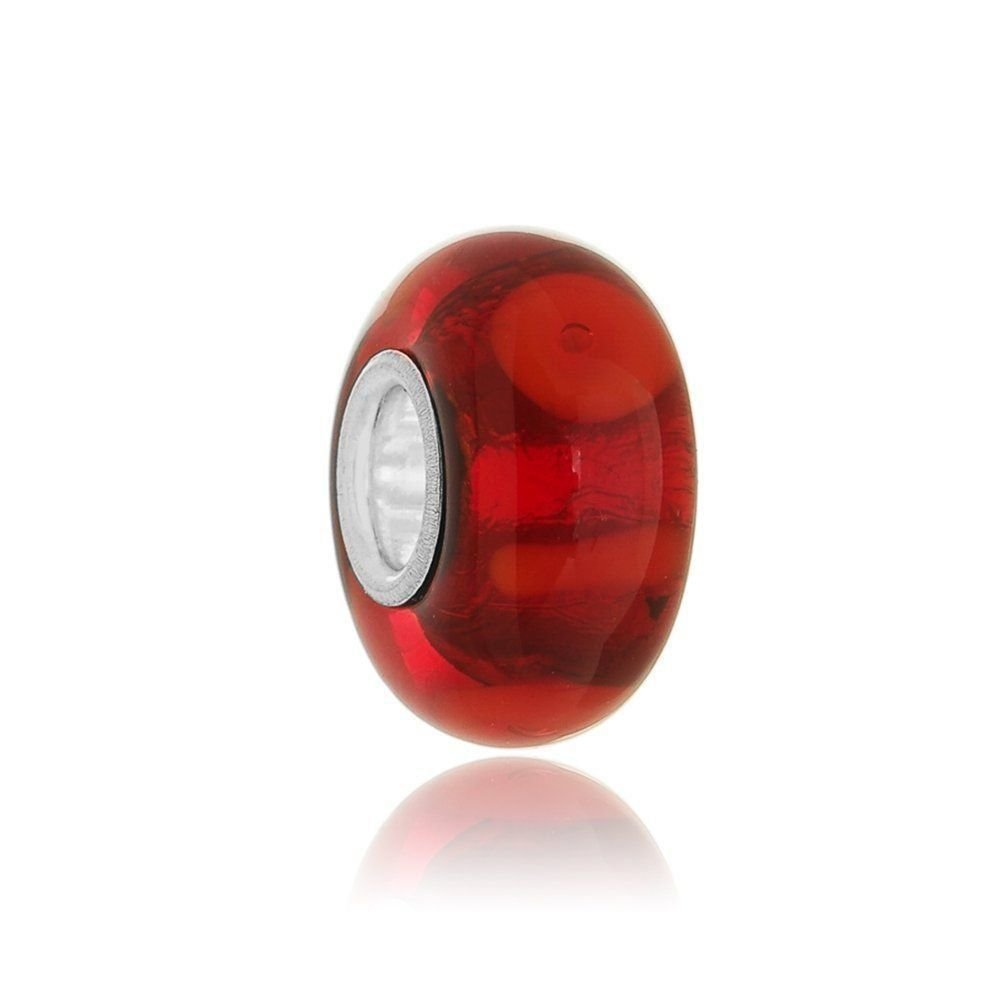 Berloque Murano  VInho Gotas E Riscas Vermelhas