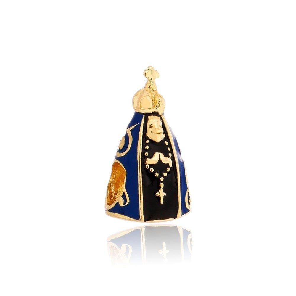 Berloque Nossa Senhora Esmaltada Dourada