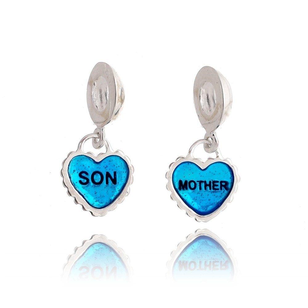 Berloque Par de Corações Mãe E Filho