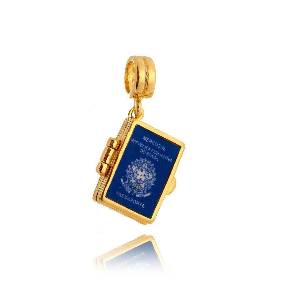 Berloque Passaporte Brasileiro Dourado