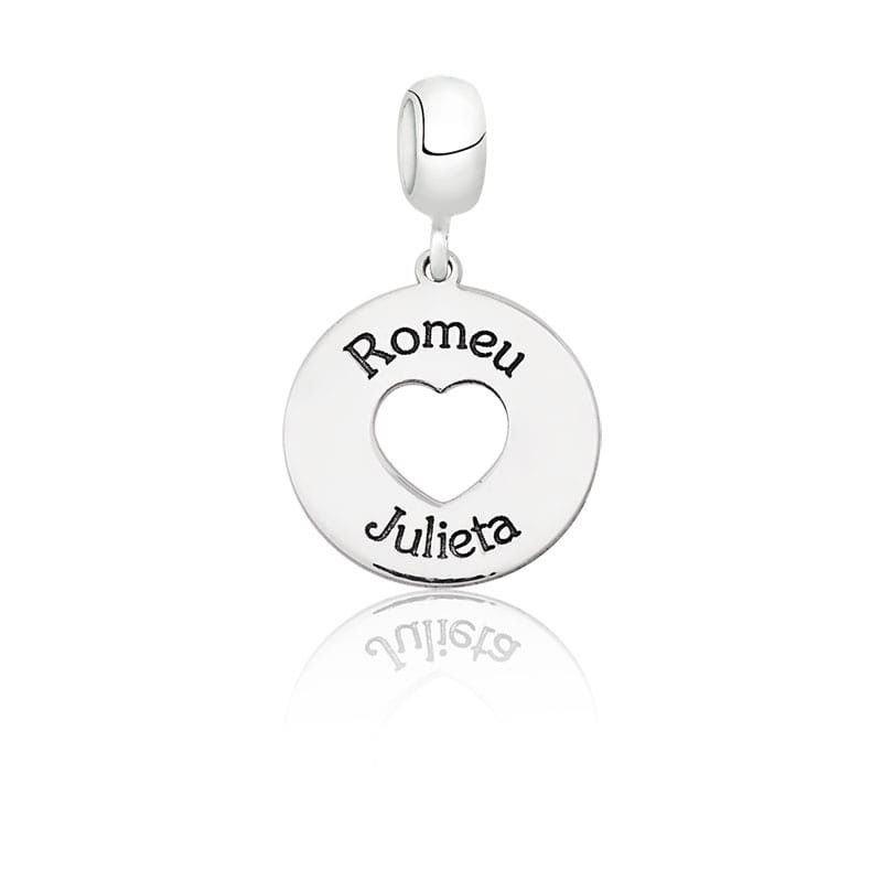 Berloque Personalizado Coração Vazado