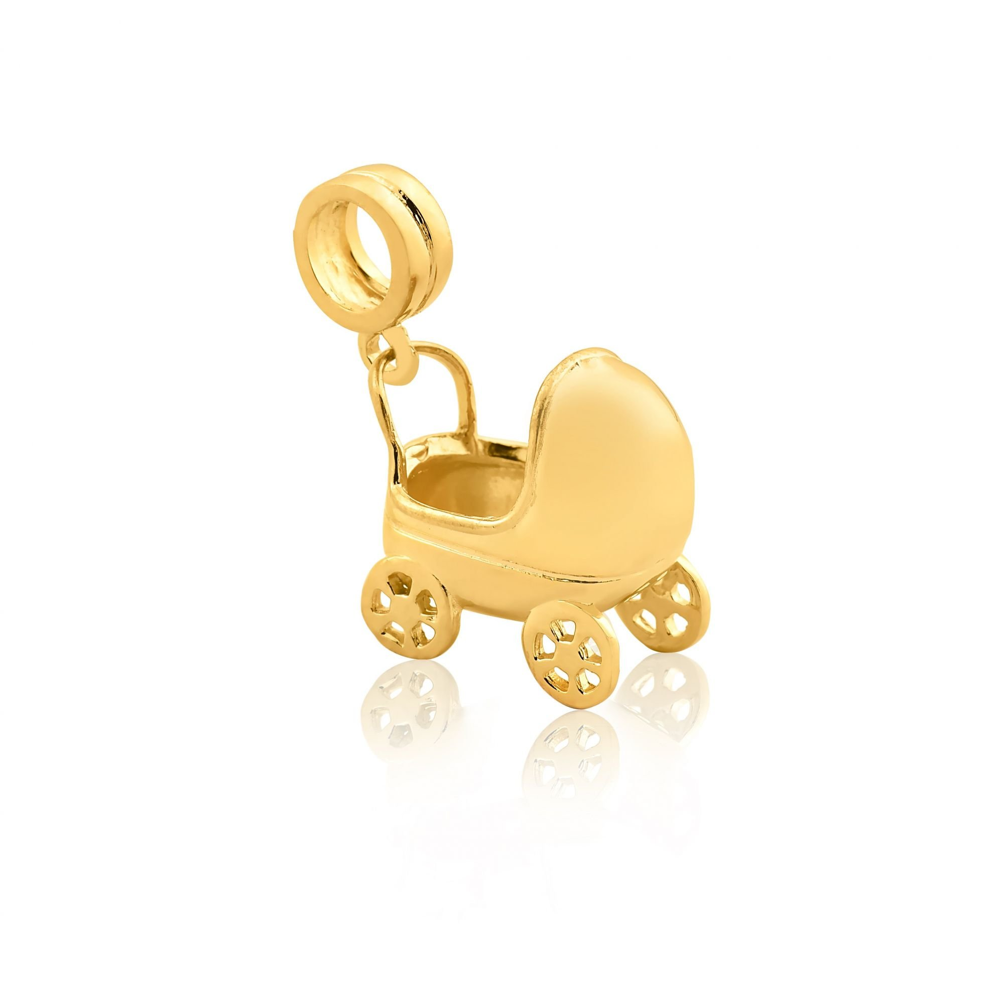 Berloque Pingente Carrinho de Bebê Dourado