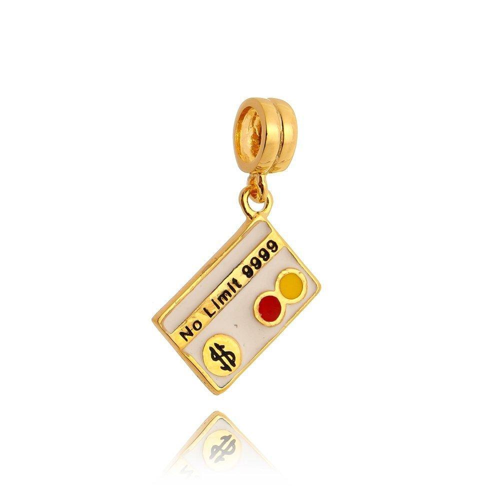 Berloque Pingente Cartão Dourado