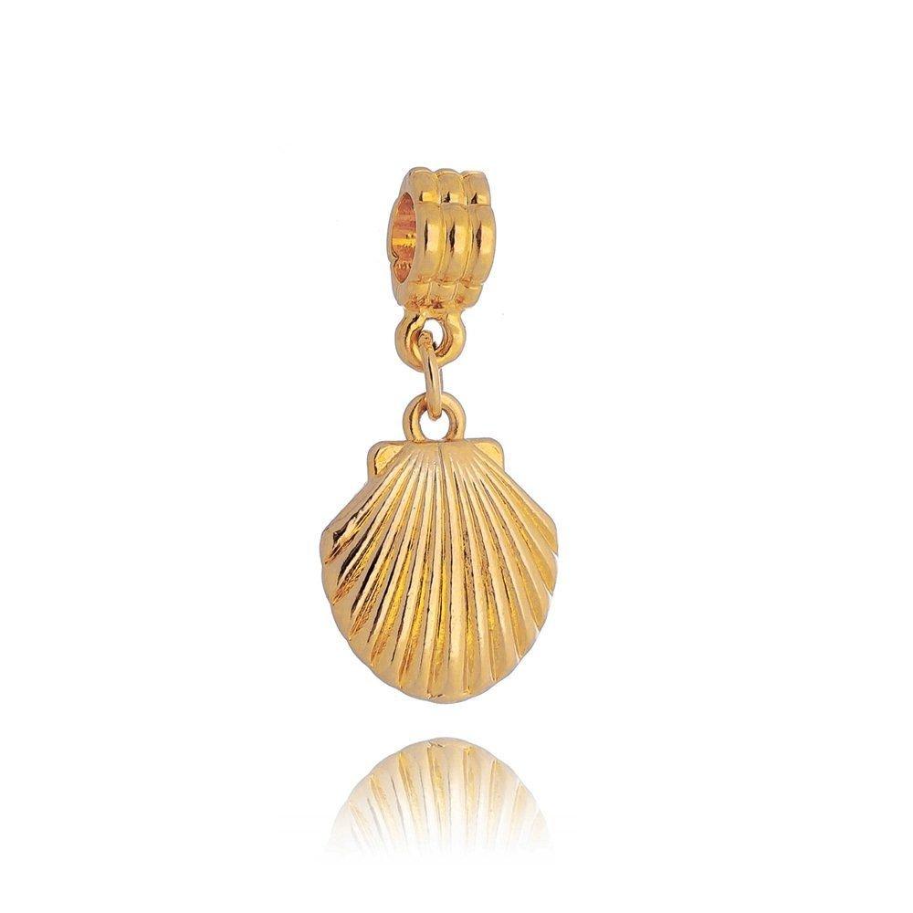 Berloque Pingente Concha Dourada
