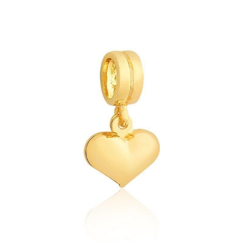 Berloque Pingente Coração Dourado