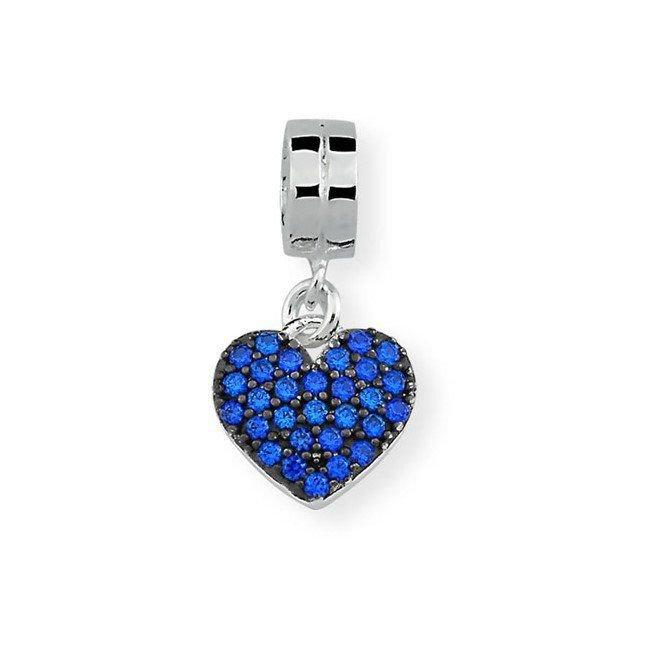 Berloque Pingente Coração Pavê Azul
