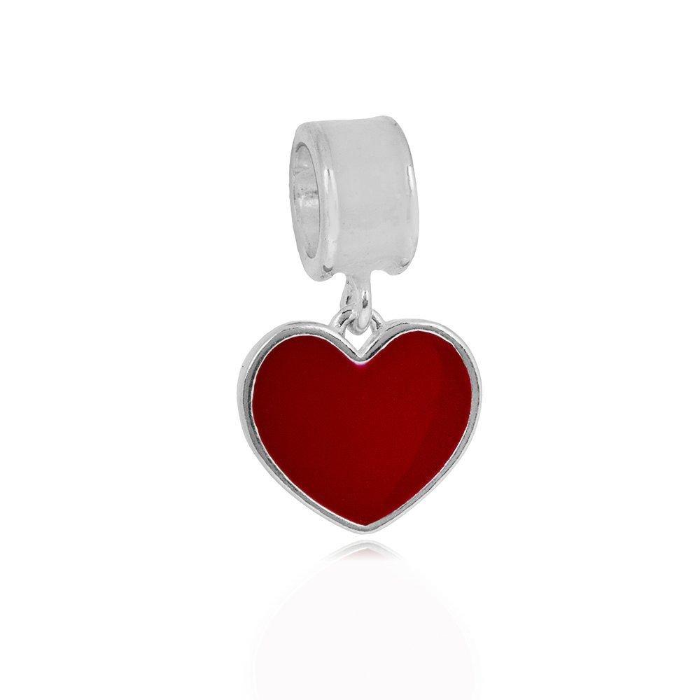 Berloque Pingente Coração Vermelho