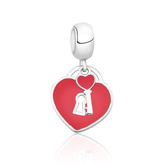 Berloque Pingente Coração Vermelho com Chave