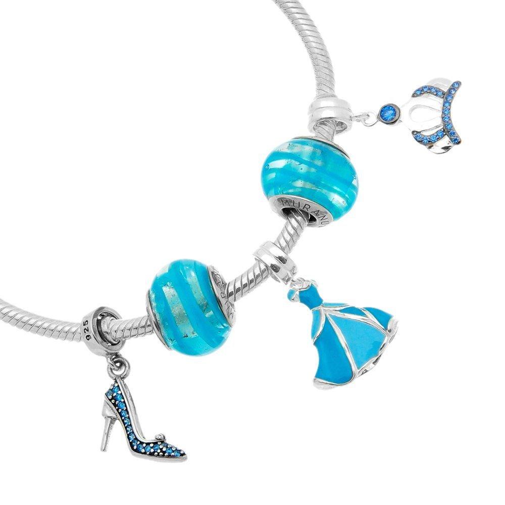 Berloque Pingente Coroa com Pedra Azul