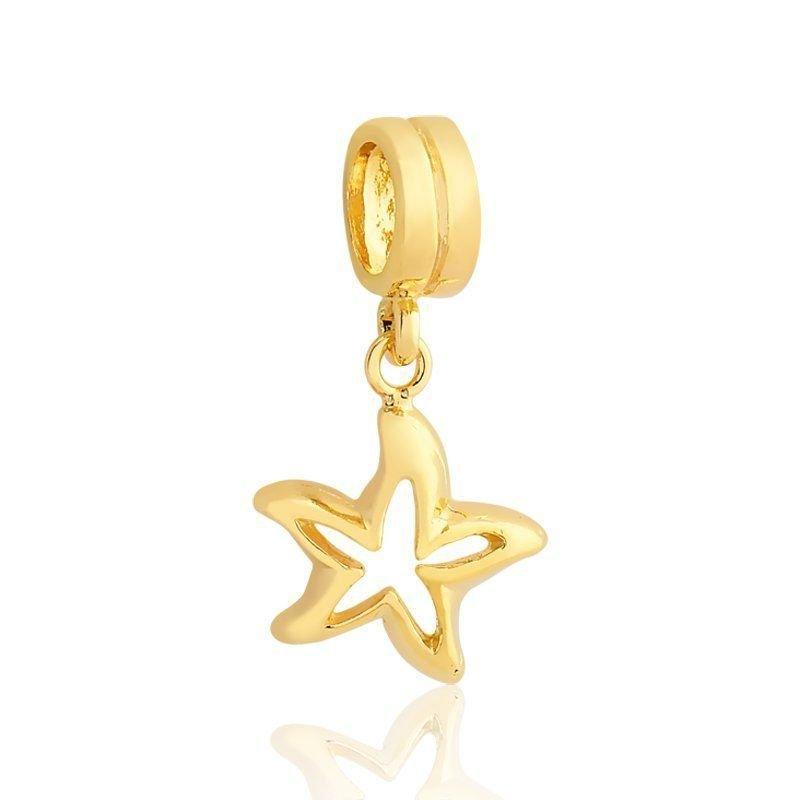 Berloque Pingente Estrela Do Mar Dourada