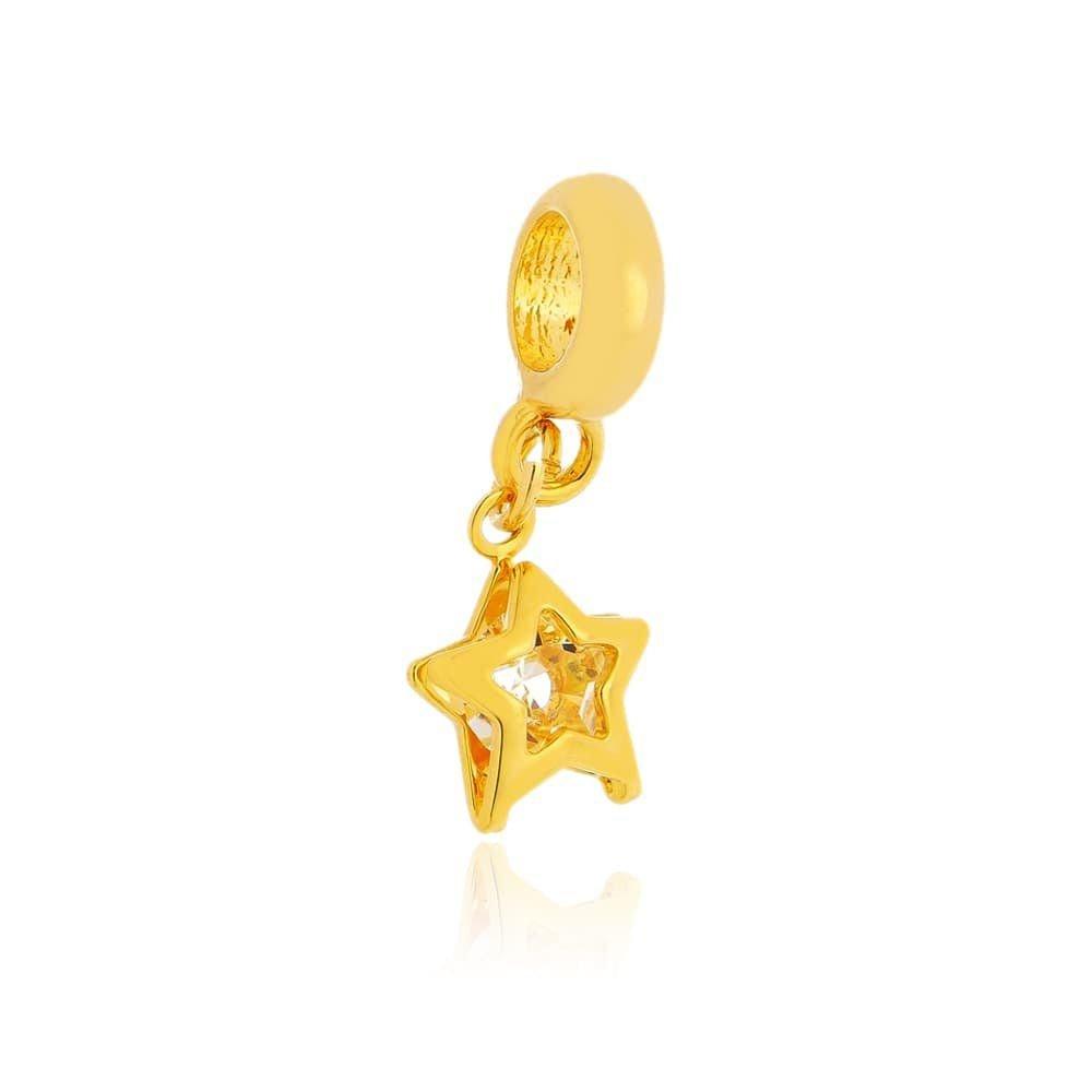 Berloque Pingente Estrela Dourada