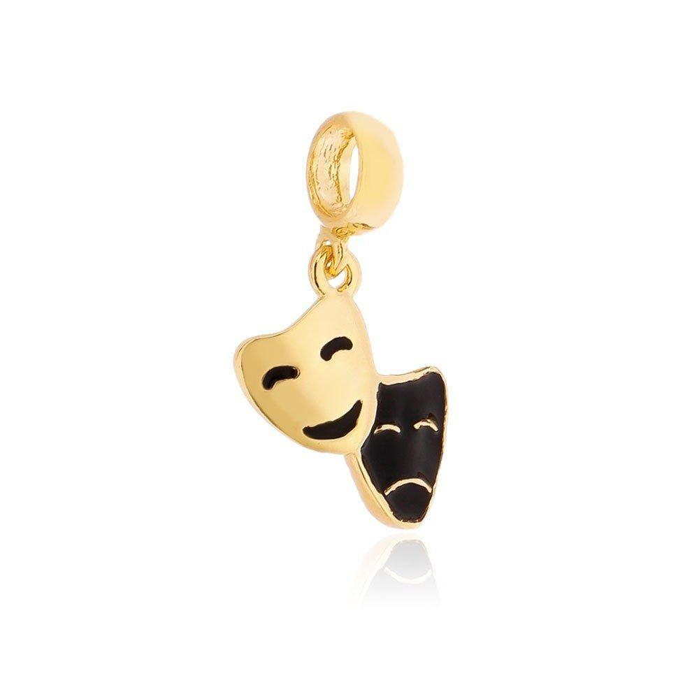Berloque Pingente Máscara Dourada