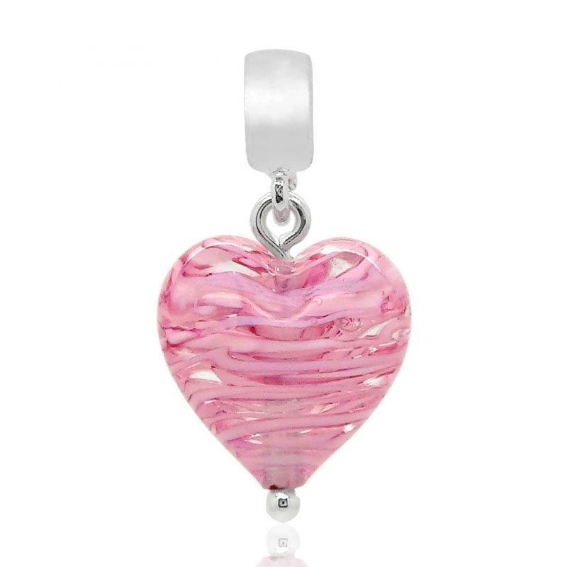 Berloque Pingente Murano Coração Rosa