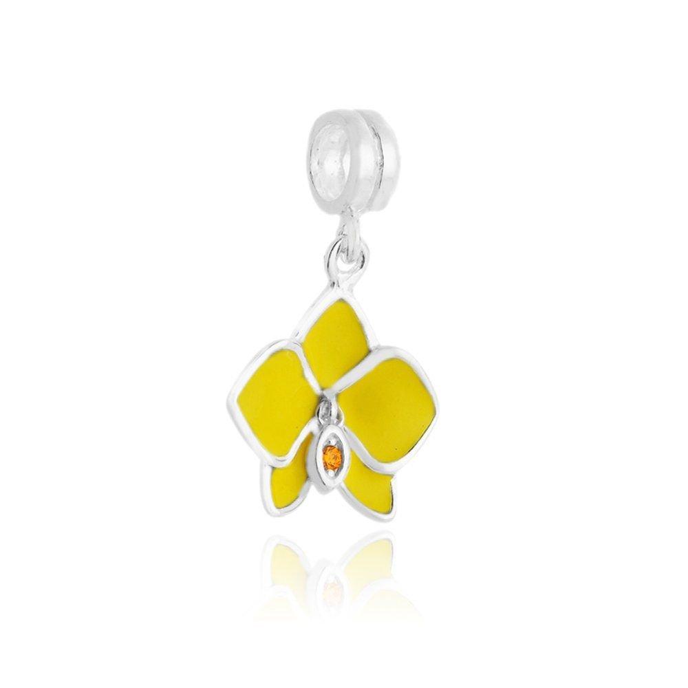 Berloque Pingente Orquídea Amarela
