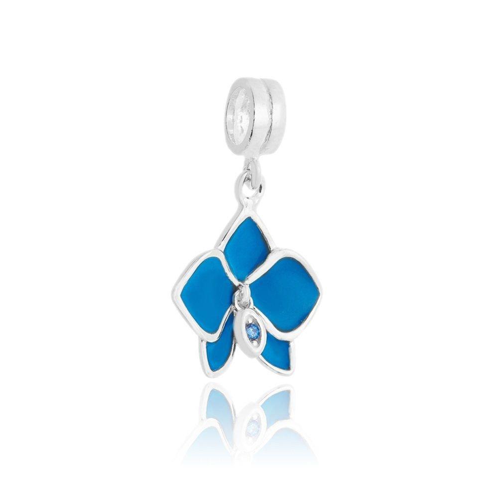Berloque Pingente Orquídea Azul