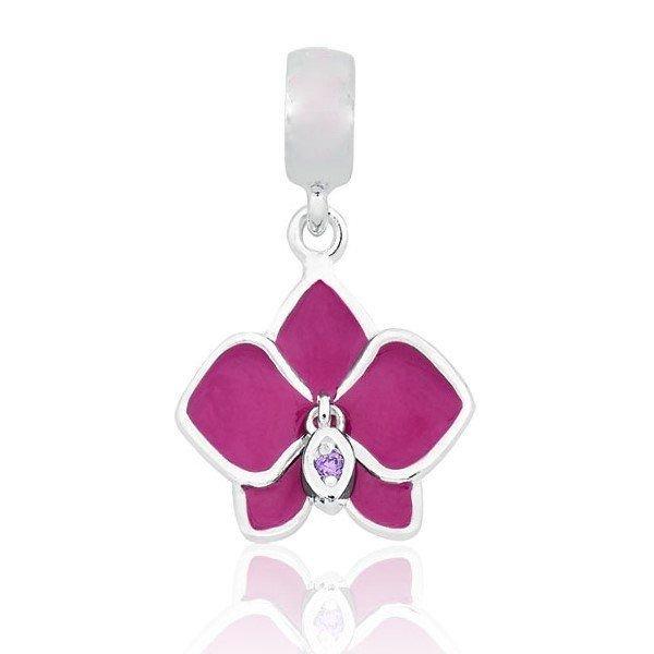 Berloque Pingente Orquídea Pink