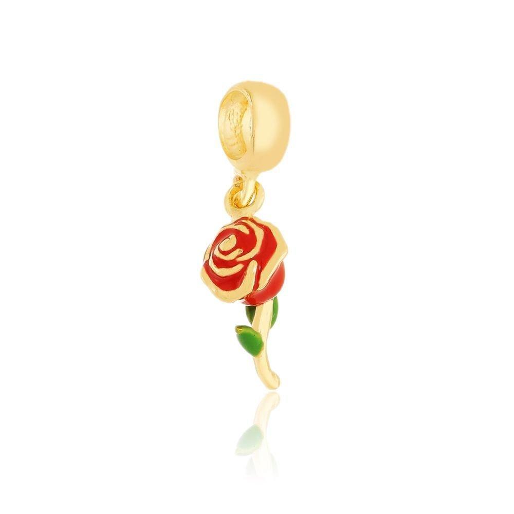 Berloque Pingente Rosa Vermelha e Dourada