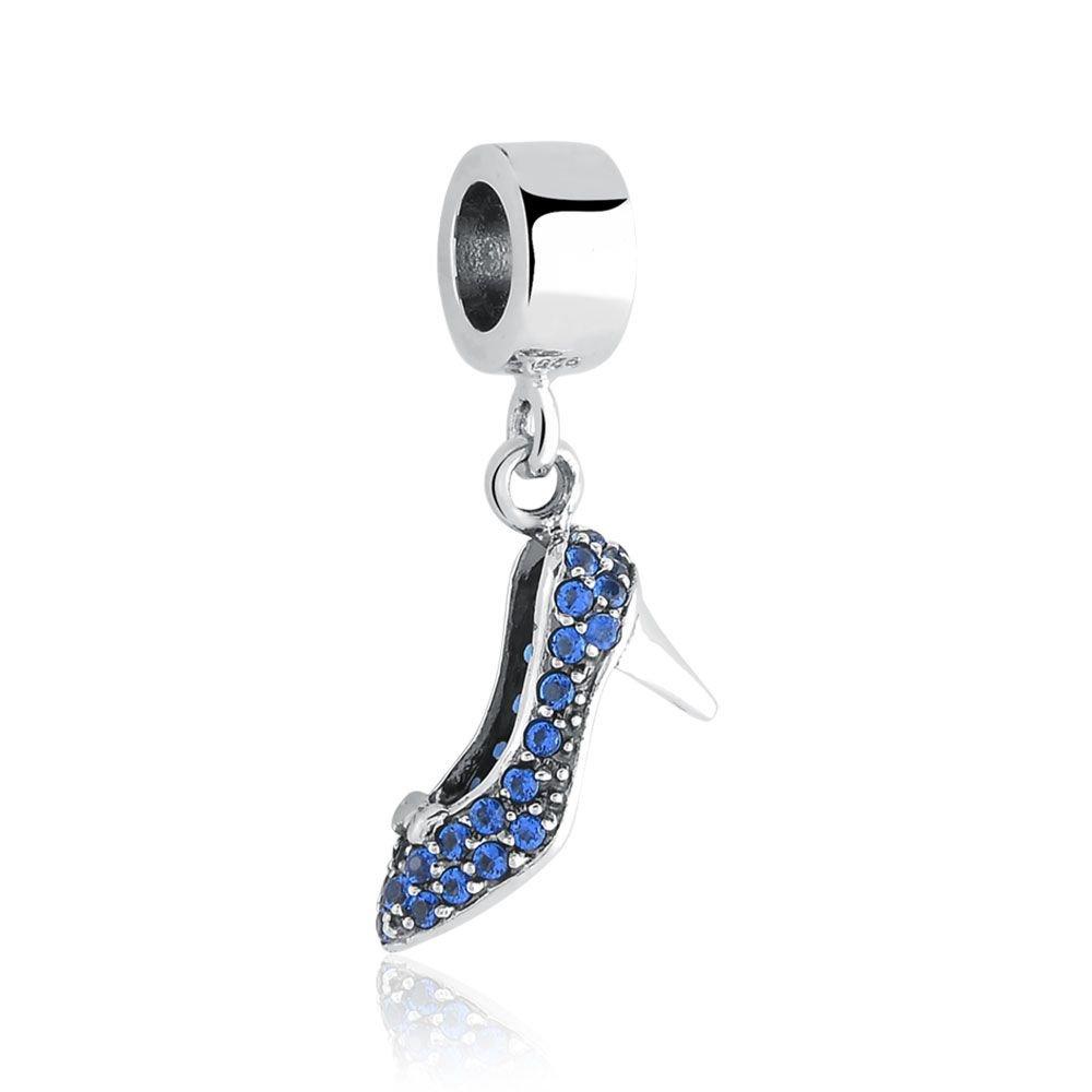 Berloque Pingente Sapato Azul Cinderela