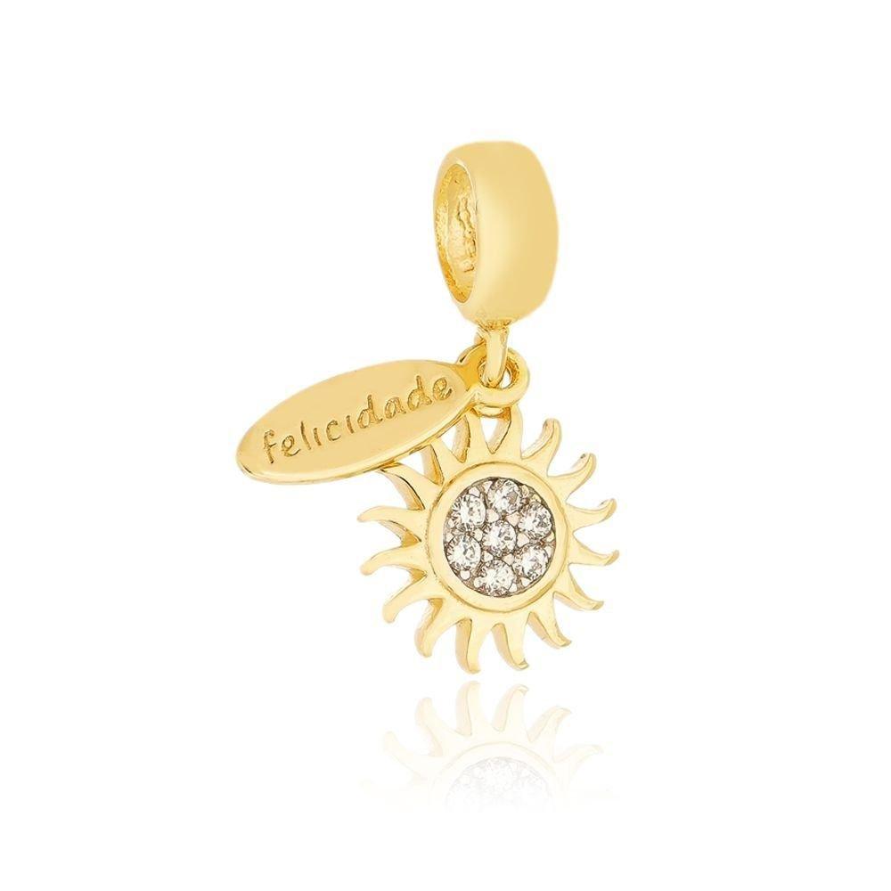 Berloque Pingente Sol e Felicidade Dourado