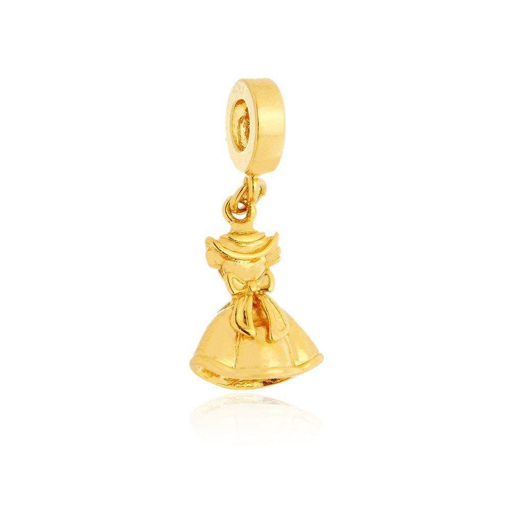 Berloque Pingente Vestido Dourado