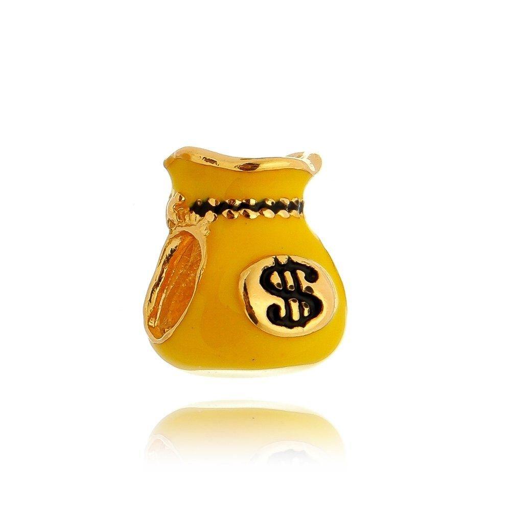 Berloque Saco de Dinheiro Esmaltado Amarelo