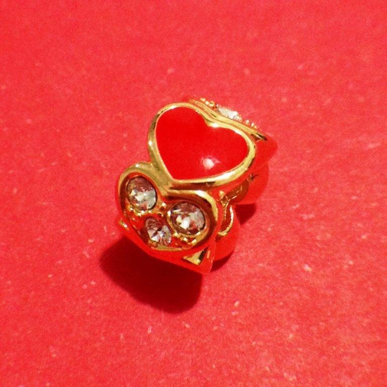 Berloque Separador Coração Vermelho / Strass