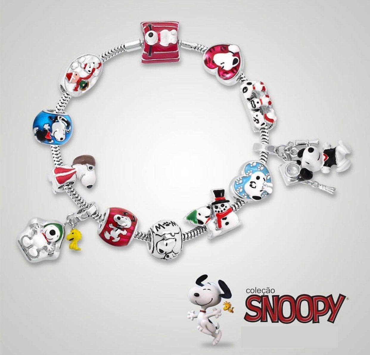 Berloque Separador Snoopy Patinhas