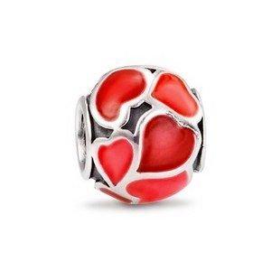 Berloque Separador Vermelho Corações