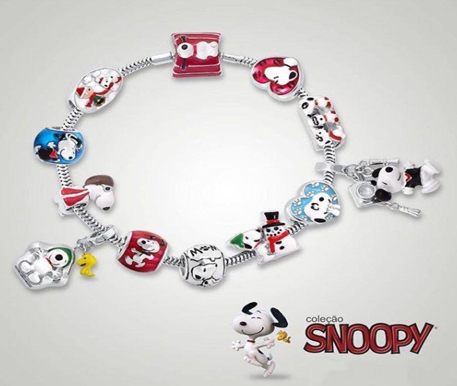 Berloque Snoopy Coração Beijinho