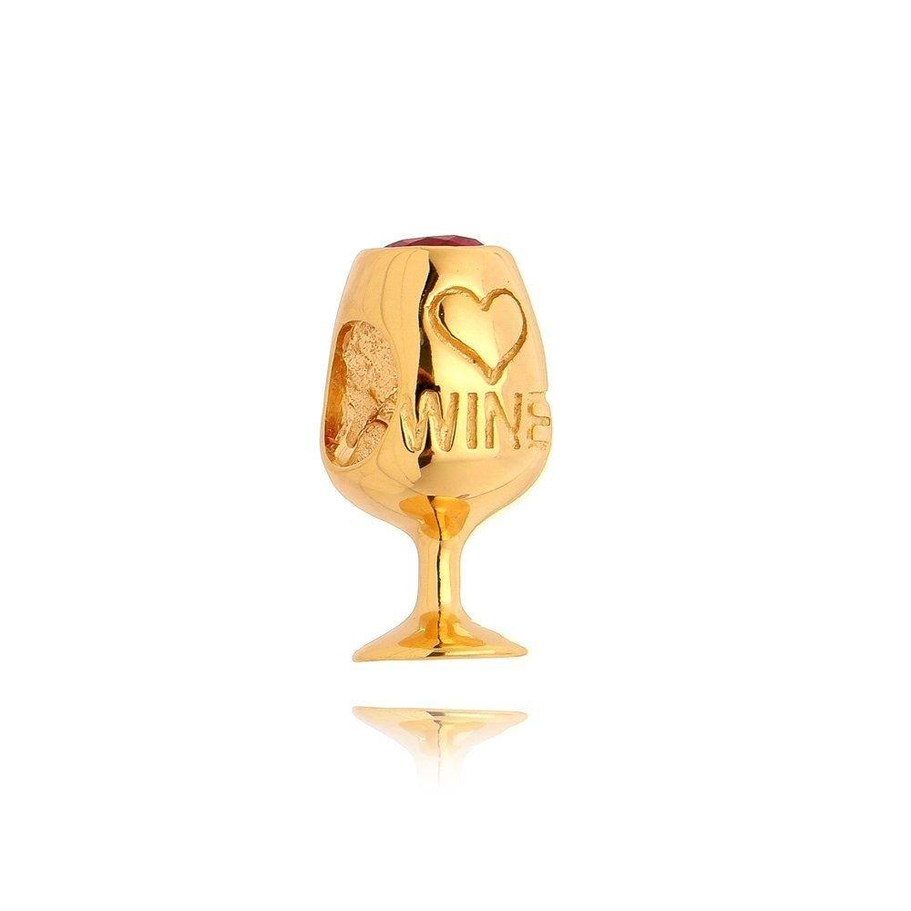 Berloque Taça de Vinho Dourada