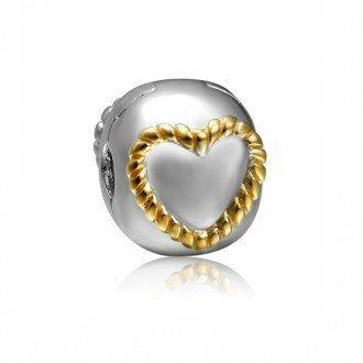 Berloque Trava de Coração Dourado