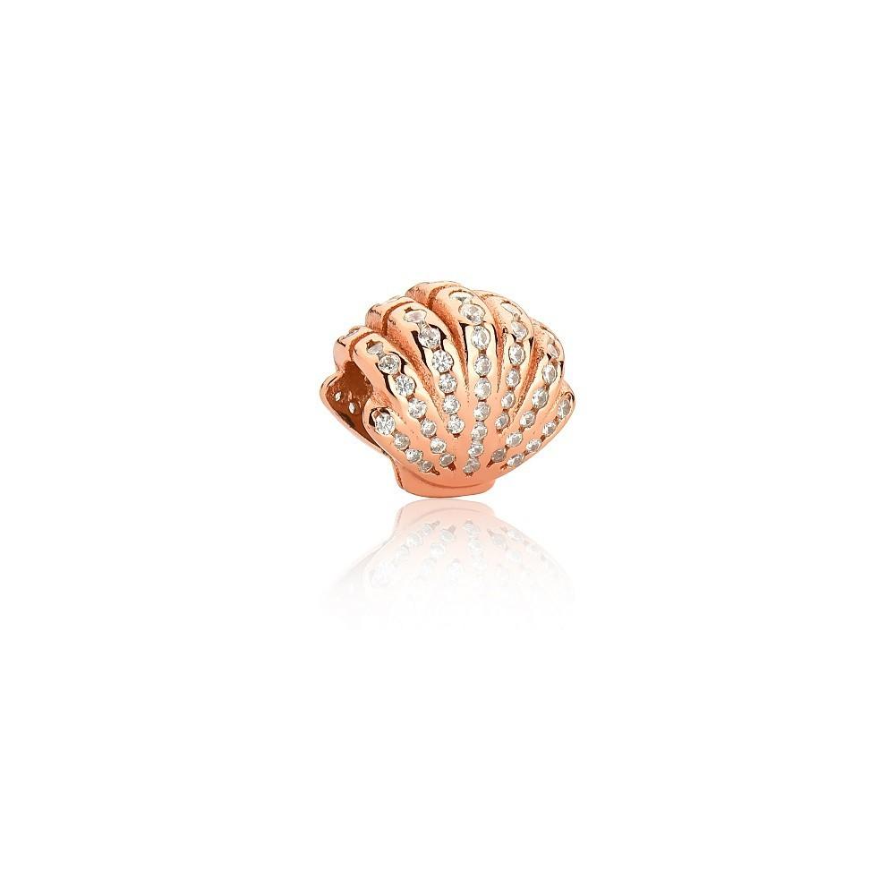 Berloque Concha de Zircônias Rosé