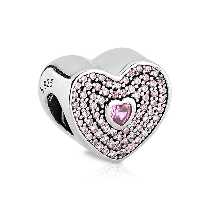 Berloque Separador Coração Pavê Rosa