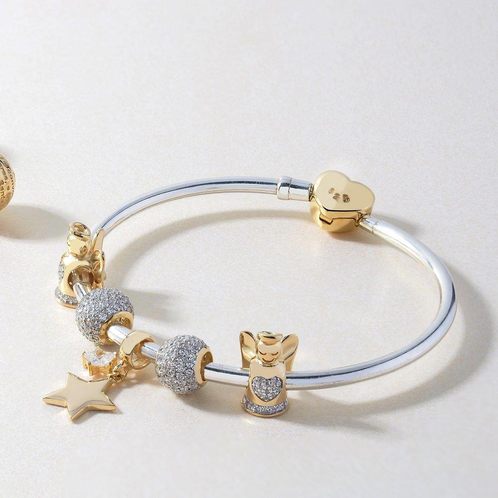 Bracelete Rígido Coração Dourado