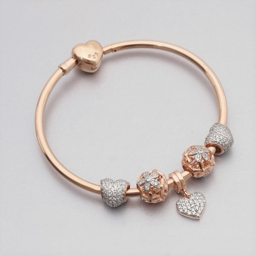 Bracelete Rígido Coração Rosé