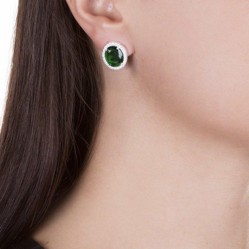 Brinco Oval Cravejado Verde