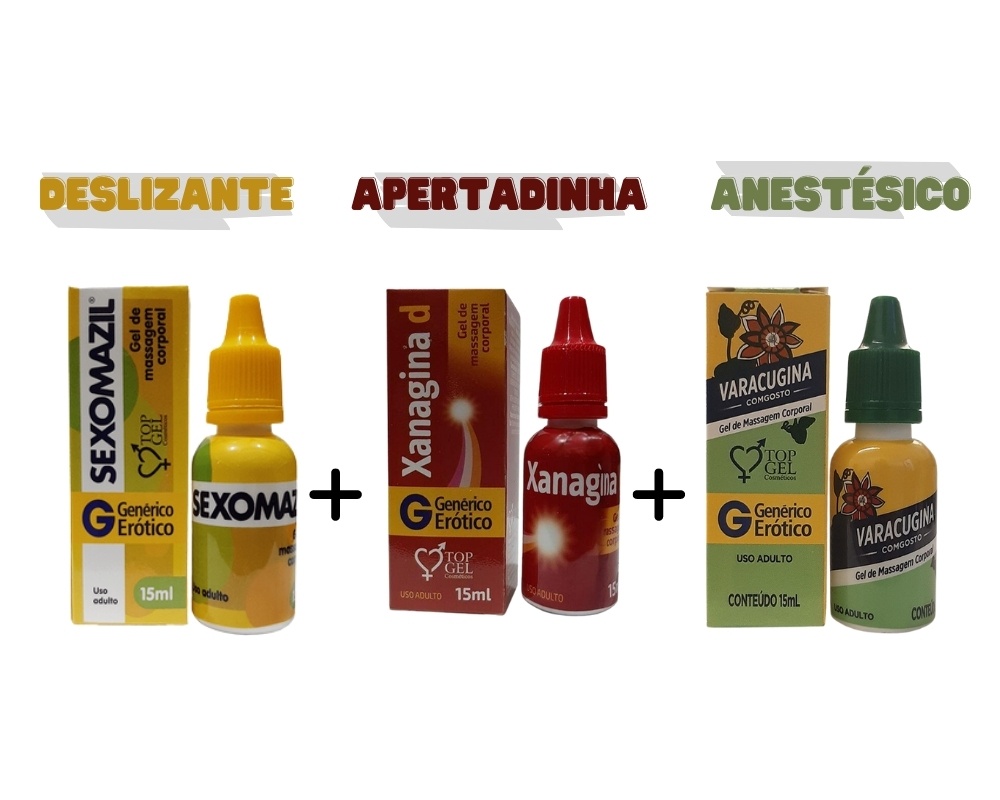 3 Lubrificante Farmacinha Varacugina Xanagina Sexomazil 15ml