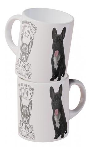 Caneca Porcelana Bulldog 350ml Cachorro