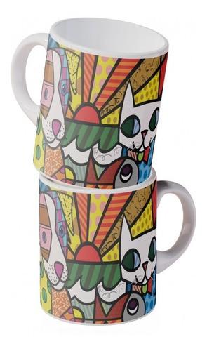 Caneca Porcelana Pop Art Cão E Gato 350ml