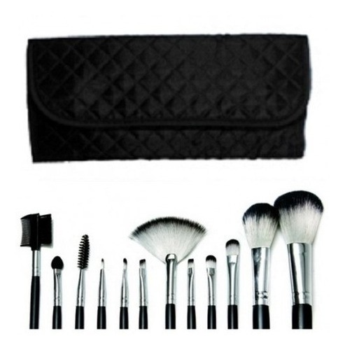 Kit 12 Pincel Macrilan + Estojo Preta Para Maquiagem