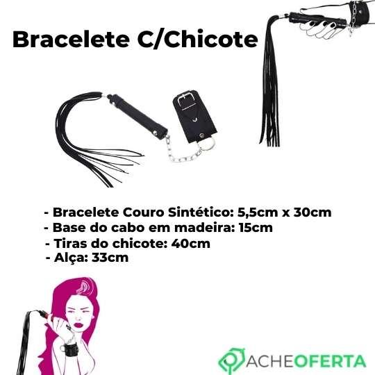 Kit Coleira C/Guia E Bracelete C/Chicote BDSM Sado