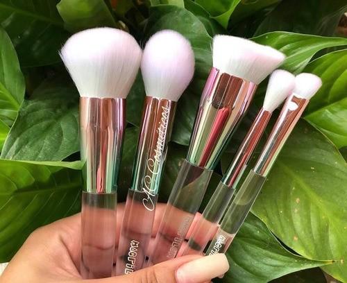 Kit Com 5 Pincéis Profissionais Macrilan Glam Ed500 Pink