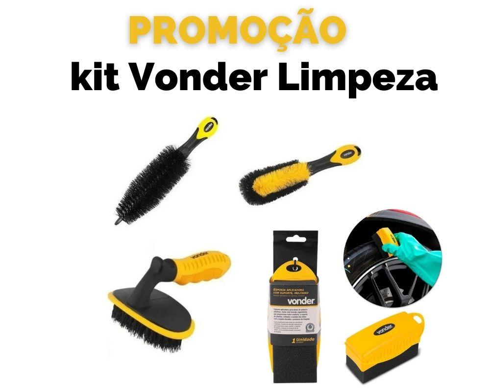 Kit Vonder Limpeza Roda Pneu Escovas E Esponja PROMOÇÃO
